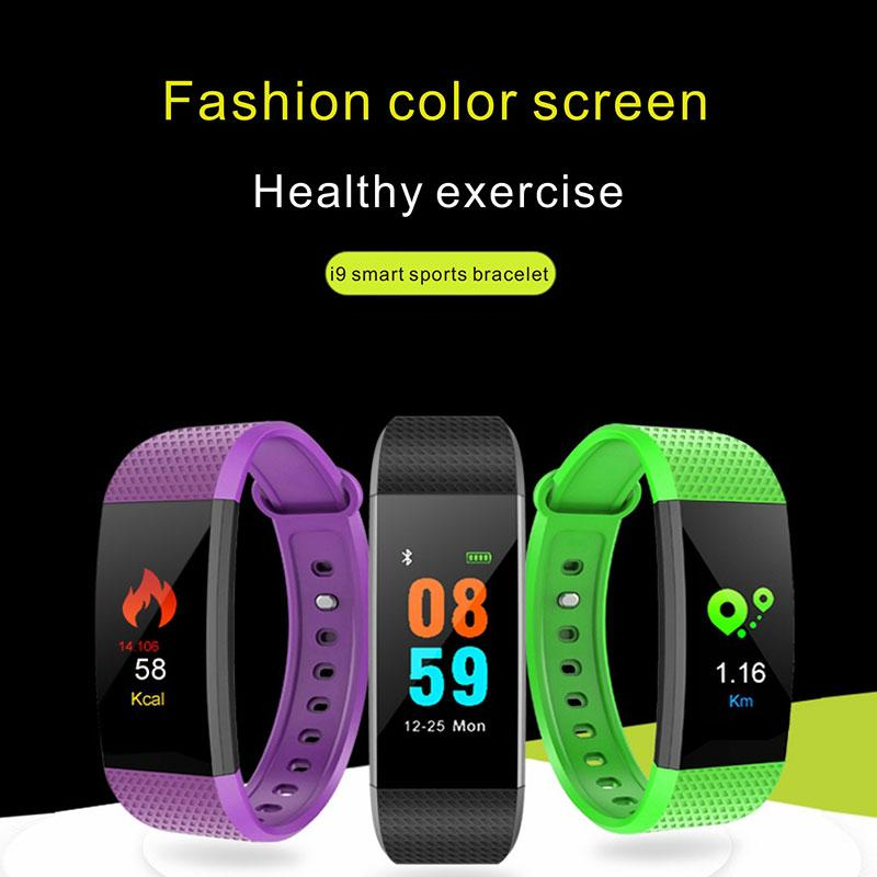 I9 IP68 Waterproof Color Screen Fitness Bracelet Blood Pressure Wrist Activity Smart Wrist Band Bluetooth Heart Rate Monitor for Android IOS