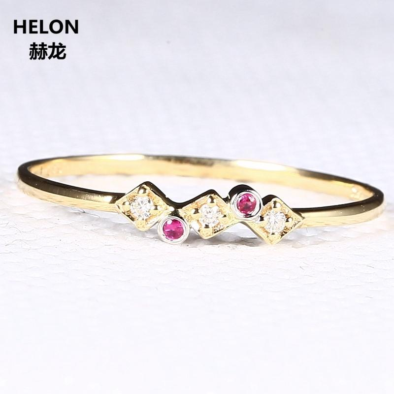 Solid 14k Yellow Gold White Gold Natural Diamonds Ruby Wedding Band Engagement Ring for Women Fine Jewelry S923
