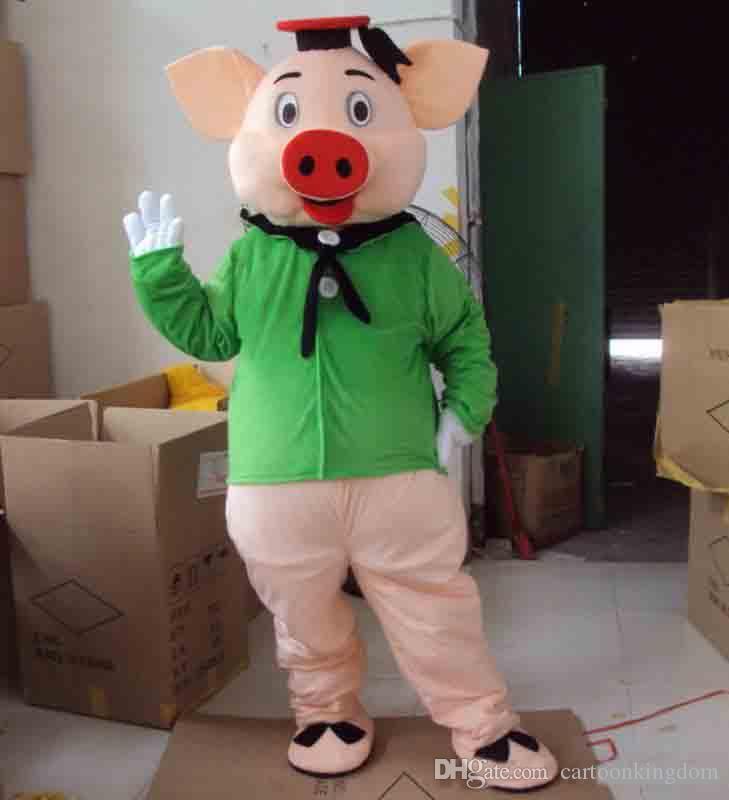 2018 Sıcak satış EVA Malzeme Kask Yeşil elbise domuz Maskot Kostümleri Karikatür Giyim Doğum Günü partisi Masquerade