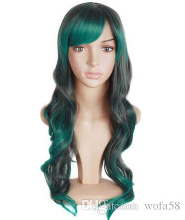 Long wig gray and turquoise wave of 70cm with wick, cosplay