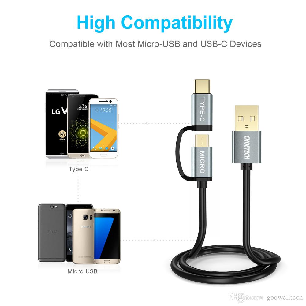 2 in 1 USB Cable Type C+Micro USB Cable 1.2M Mobile Phone Cables for Samsung S9 S8 Plus for Nokia 2 N1 for Meizu Pro 5