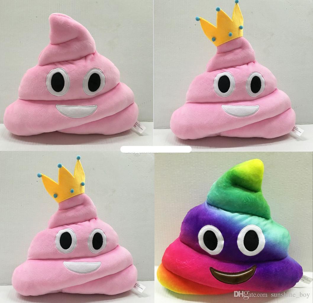 Novo 35 cm emoji plush shit brinquedos travesseiro almofada dos desenhos animados 14 polegadas cocô de pelúcia travesseiros bonecos coroa cor de rosa do arco-íris