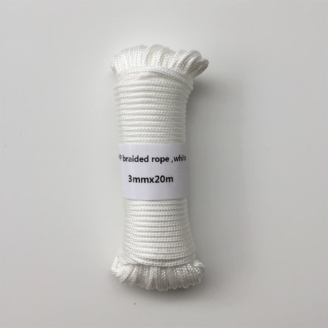 White 3mmx20m braided Polypropylene rope PP hang tag clothes line home decoration garden accessories outdoor camping rope