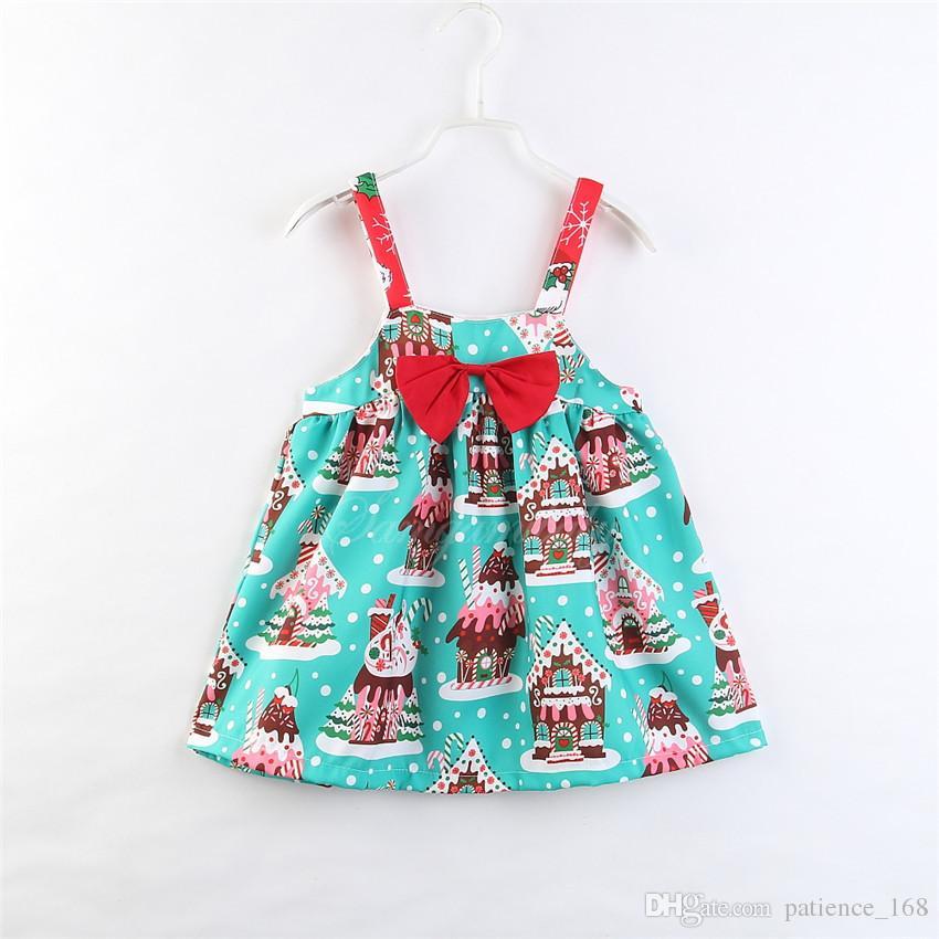 Nouvelle robe 2018 INS styles chauds Nouvel été fille enfants mignons Noël impression de bande dessinée de coton Robe enfants élégante bowknot robe navire gratuit