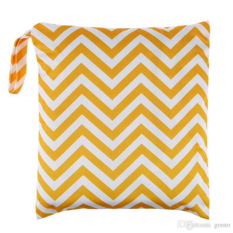 Детские Оснастки застежка пеленки сумки печатных один молнии подгузник сумка многоразовые водонепроницаемый ткань пеленки мокрой сухой мешок 1 шт.