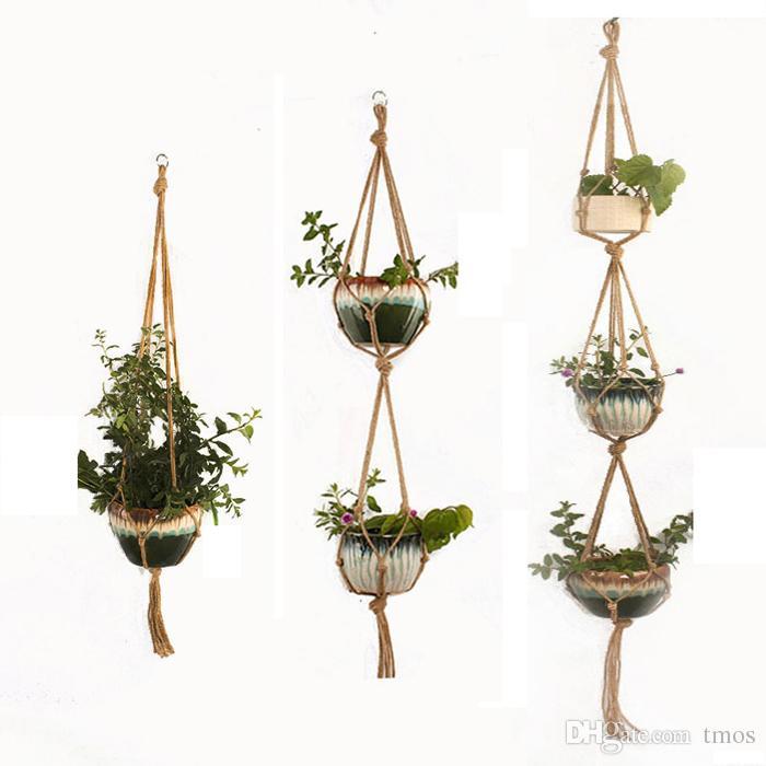 DHL Ücretsiz Kapalı Açık Bitki Askı Asılı Ekici Pot Tutucu Çiçek Sepet Pot Askı Halat Ev Balkon Dekorasyonu için 1/2/3 katlı