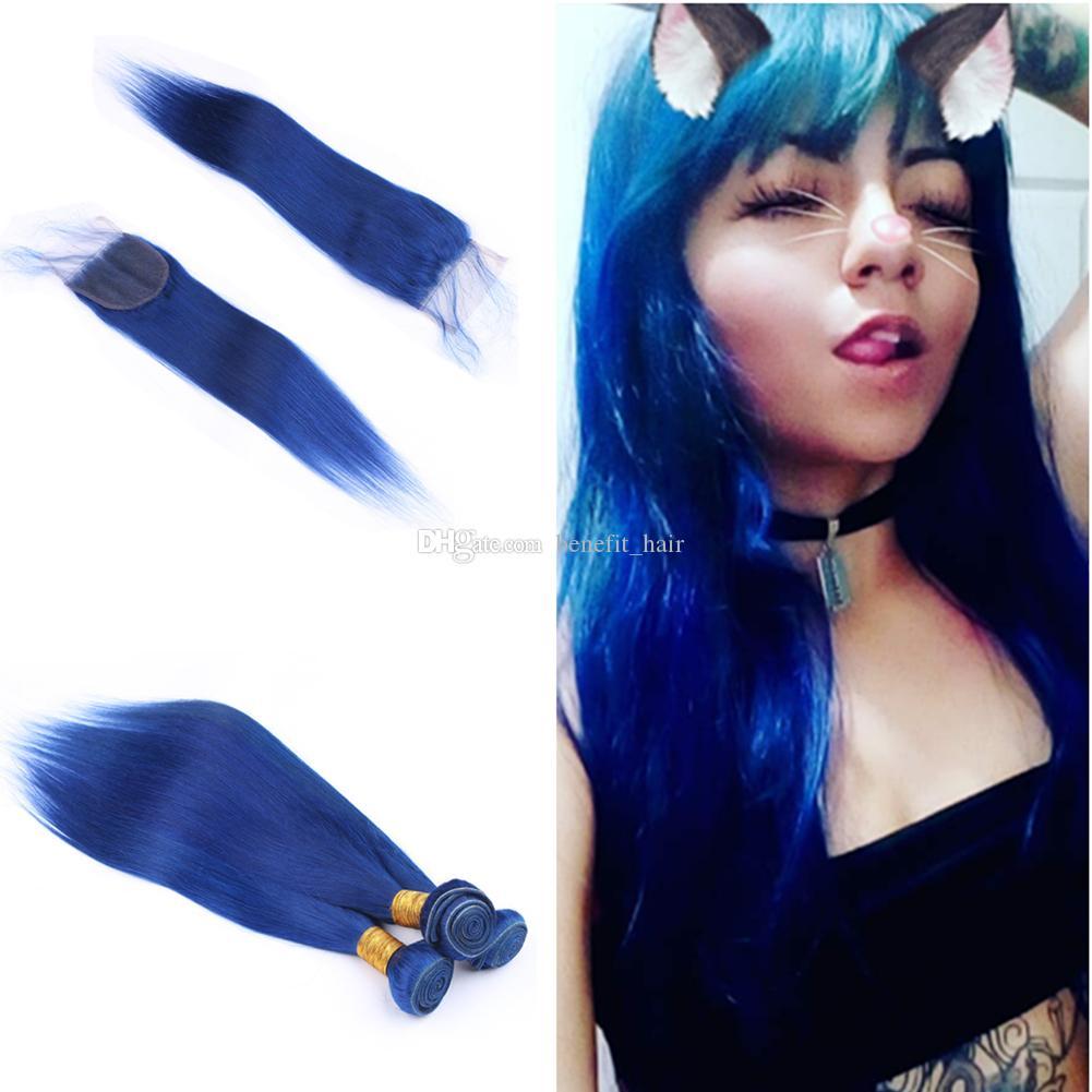 Las tramas del pelo humano del color azul recto sedoso malasio con el cierre del cordón 4x4 9A Parte libre de la Virgen Cierre superior con las extensiones 3Bundles