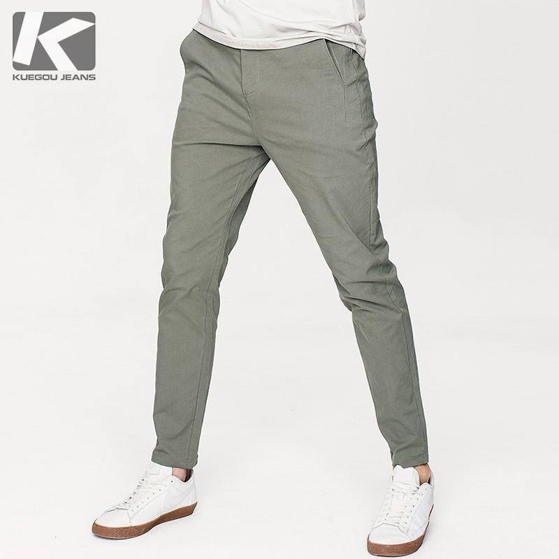 Autumn Men Casual Pants Cotton Solid Green Color Pocket For Man Fashion Slim Fit 2018 New Male Wear Long Straight Trousers 9785