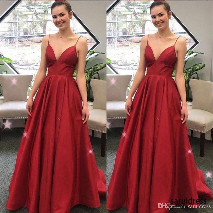 Vestidos largos de la celebridad Vestido de noche simple atractivo Elegantes correas de espagueti Vestidos de baile de las mujeres Ropa formal Cremallera de satén rojo sin respaldo