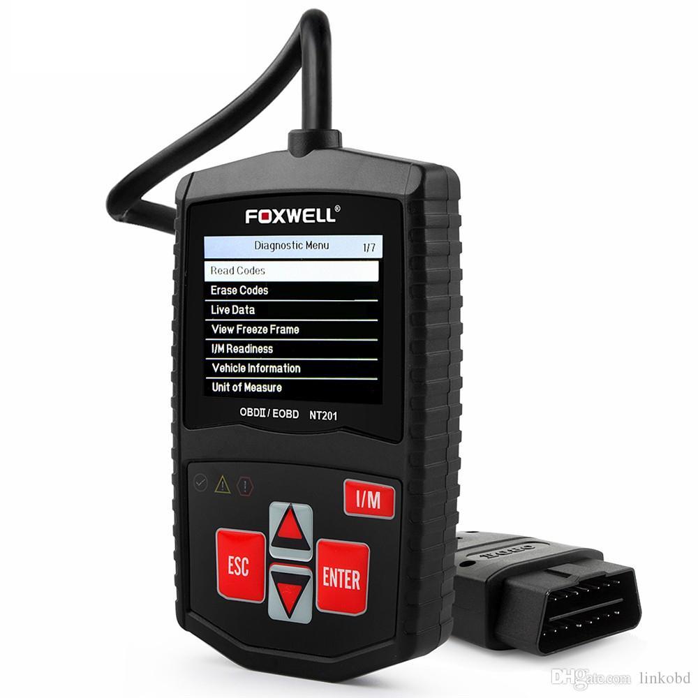 FOXWELL NT201 العالمي سيارة التشخيص ماسحة شاشة ملونة خطأ قانون القارئ محرك محلل مع لغات متعددة