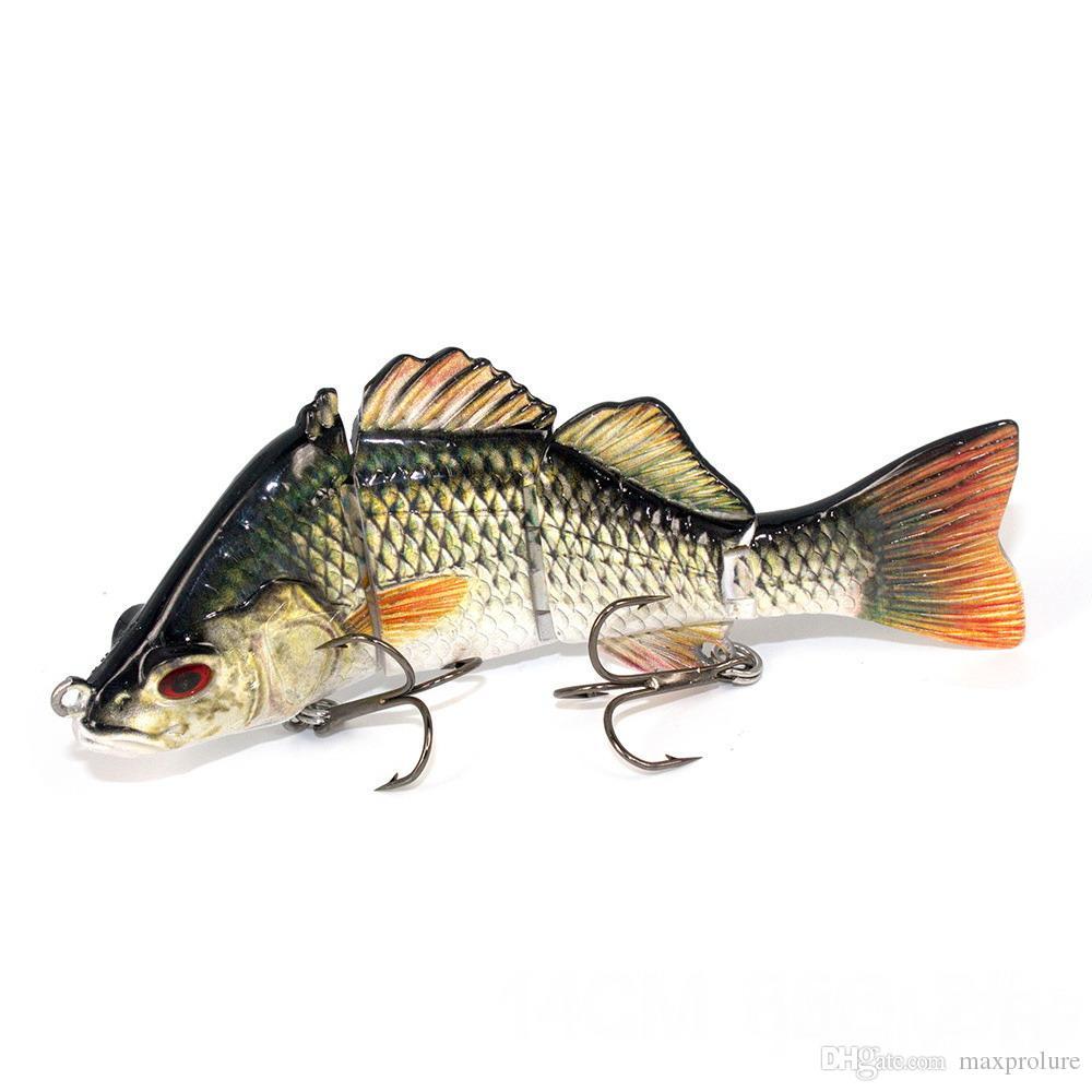 Realista de 4 segmentos de pesca en alta mar señuelos de bajo Artificial cebo duro Swimbait 3D realista ojos señuelo de pesca de peces convenidos