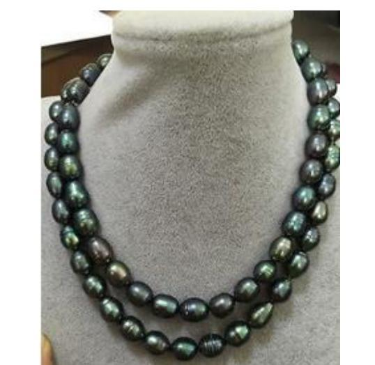 Großhandel Doppelstränge 12-13mm Peacock Green Barocke Perlenkette 18 Zoll 19 Zoll 14k Gold Verschluss