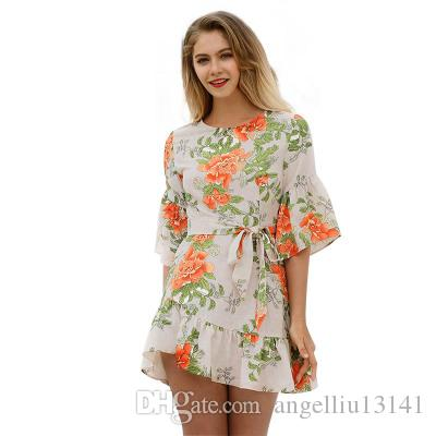 Hot Sale plus size summer dresses for women tunic casual loose short dress tunic floral ruffle dress boho robe femme woman clothing