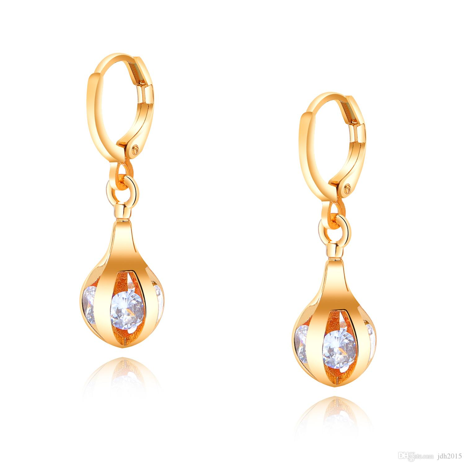 Gold Plated Cubic Zirconia Inlay Charming Hoop Dangle Earrings for Women