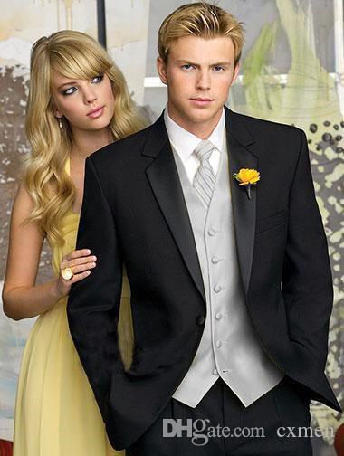 Black Mens Wedding Suits Best Men Blazer Slim Fit Groom Tuxedos Handsome Groomsmen Suit Prom Wear Formal 3 Pieces Jacket+Pants+Vest