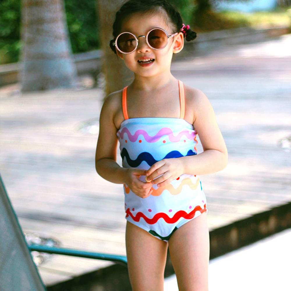 2-6T Trajes de baño para niñas Rayas de arco iris Bikini para niña One Piece Swim Minamitos de baño sin respaldo Traje de baño Lindo Banco Girls UV Bebé