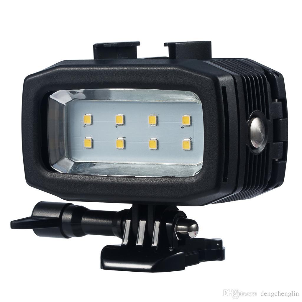 Sport Camera Underwater Light 40m Diving Waterproof Video LED-8 for Hero 6/5 DSLR3 Di fill light free shipping