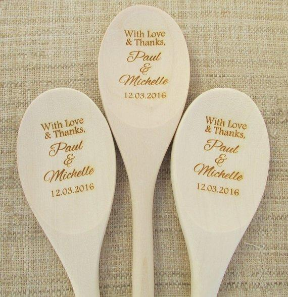 Personalized Name Text Engraved Wedding Thank You Wooden Spoons Company  Favors, Birthday Abuela Housewarming Party Favors Gifts Easy Wedding Favors
