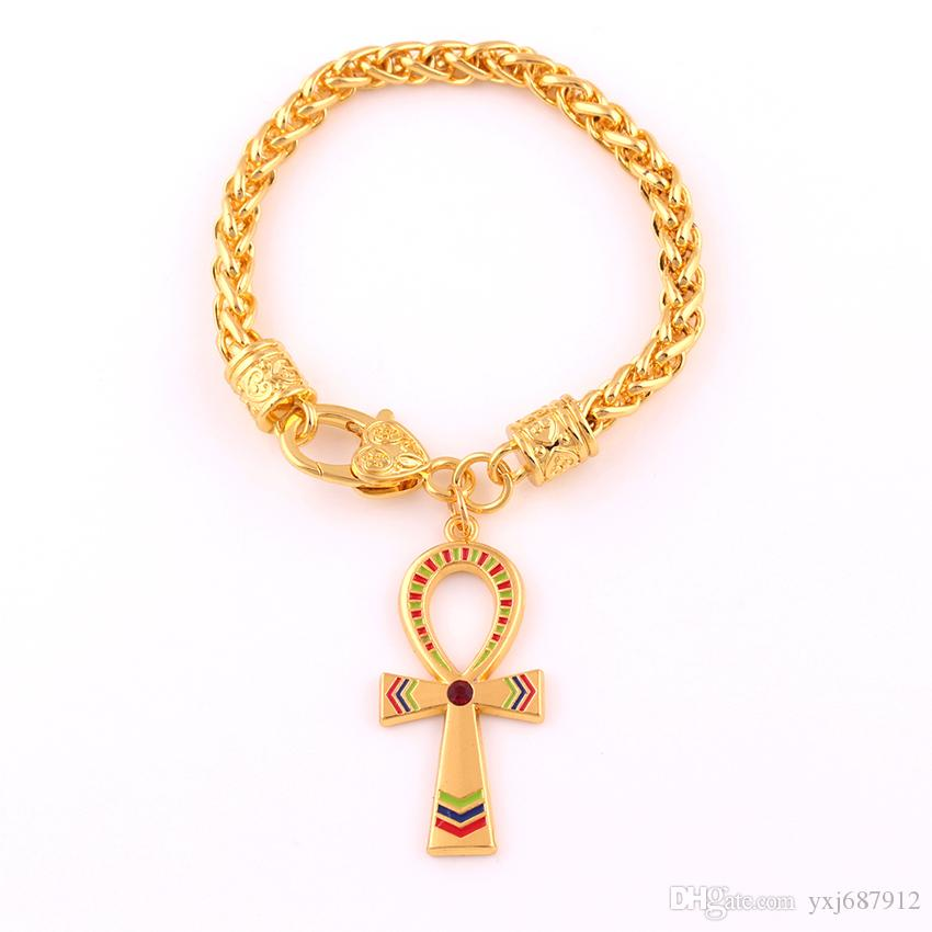 Vintage Egyptian Ankh Cross Symbol Of Life Pendant Bracelet Gold Color Charm Crystal Enamel Ornament Wheat Link Chain