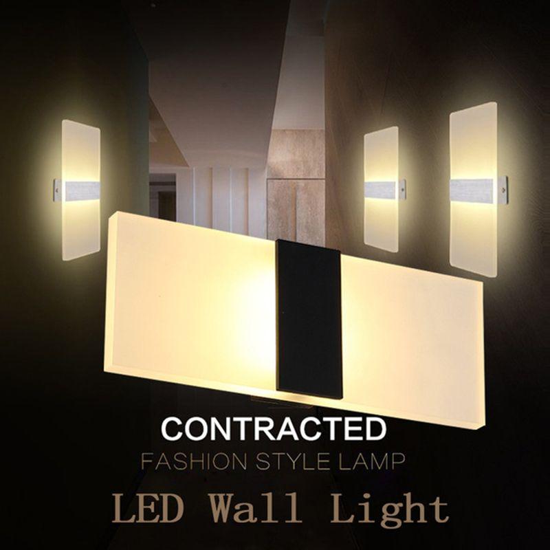 الحديثة أدى الجدار مصباح ac90-260v 3 واط 6 واط 9 واط 12 واط الجدار الشمعدانات داخلي درج ضوء تركيبات نوم السرير غرفة المعيشة المنزل المدخل