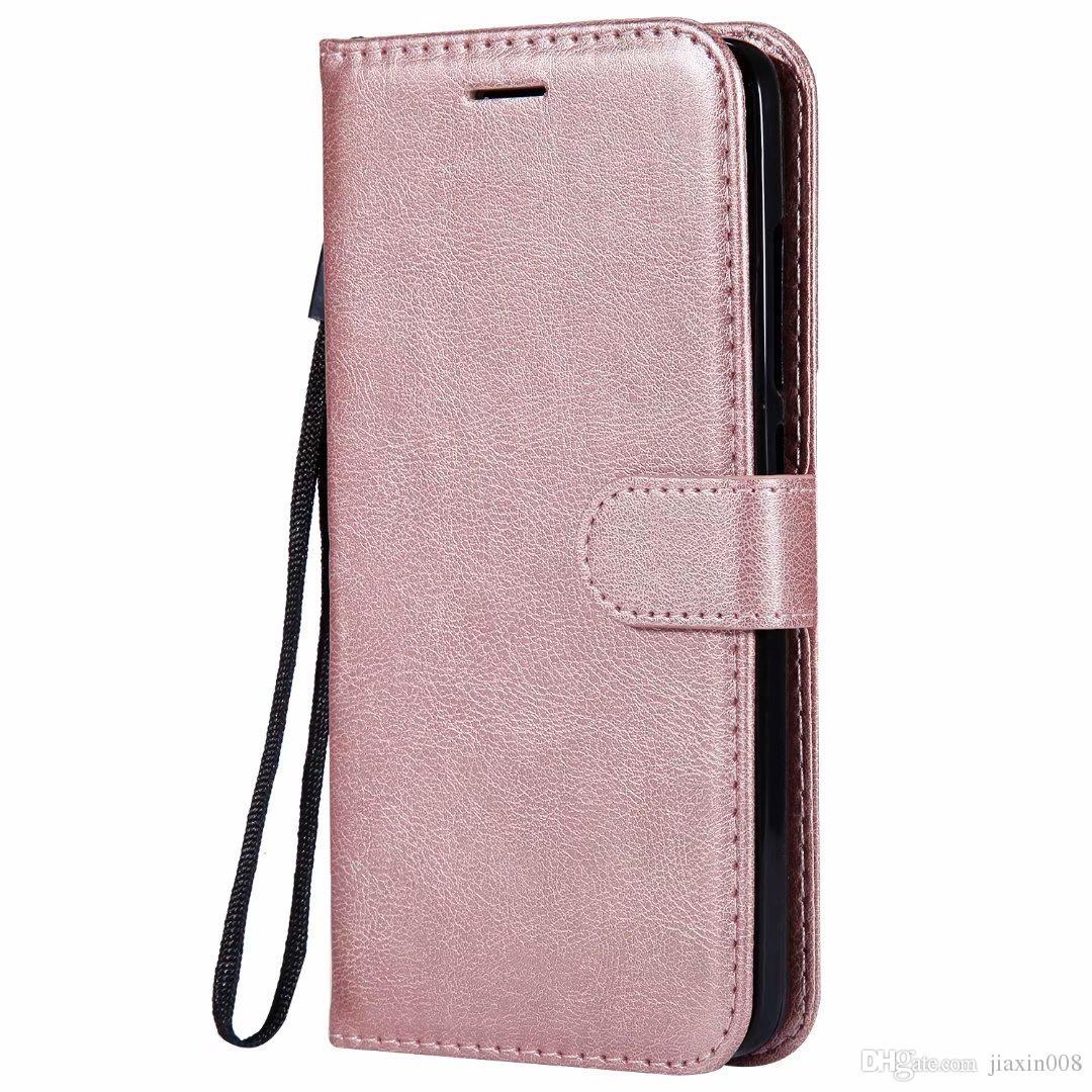Funda billetera para xiaomi mi 8 mi8 tapa trasera cubierta de color puro cuero de la pu bolsas de teléfonos móviles coque fundas