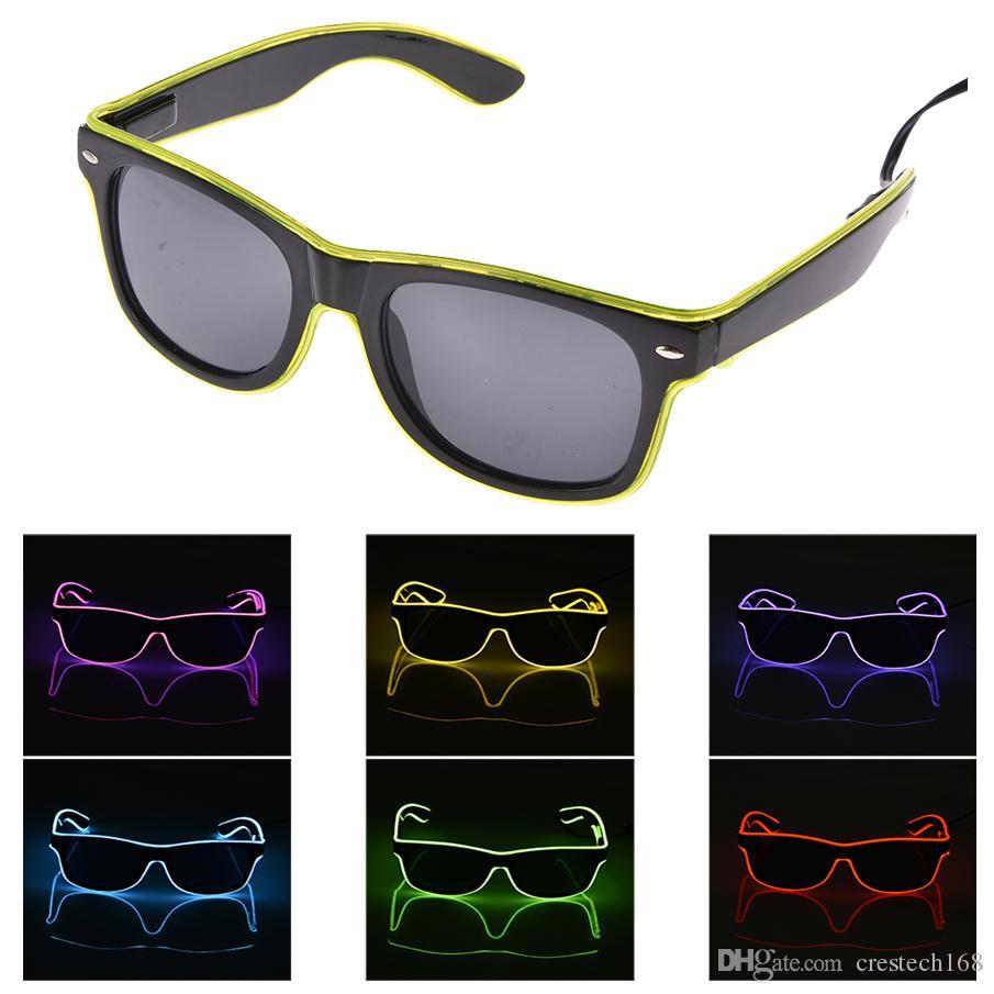 ايل النظارات El Wire الأزياء نيون الصمام تضيء مصراع على شكل توهج نظارات الشمس الهذيان حلي حزب DJ برايت SunGlasses