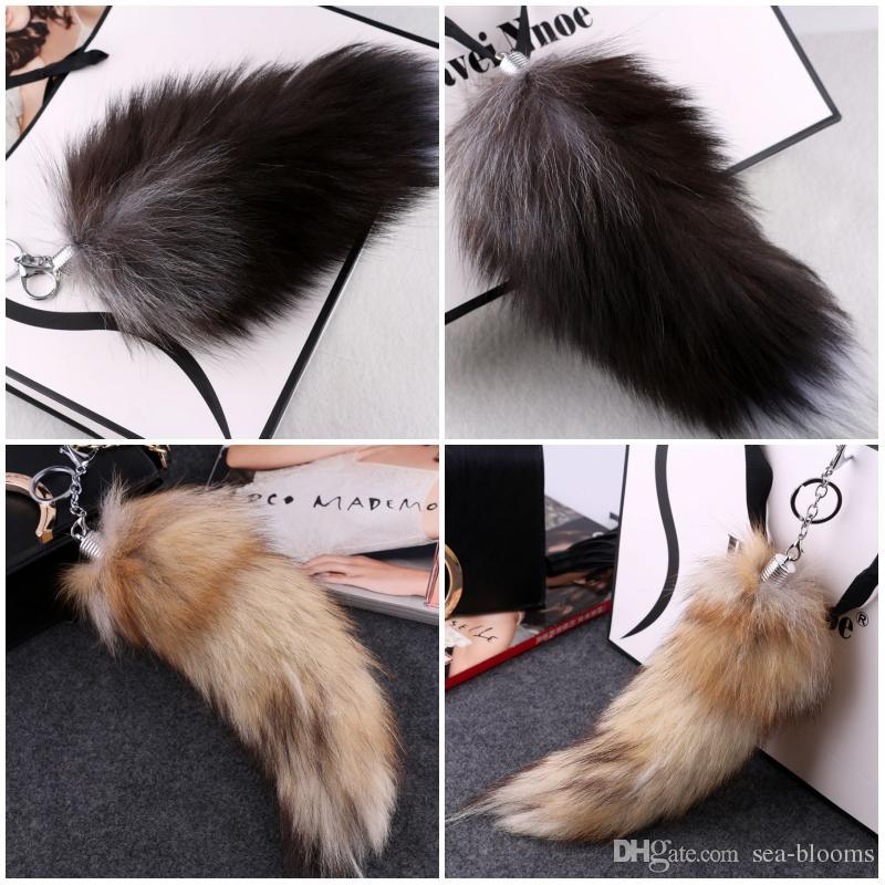 Cute 33cm Supper Huge Fluffy Black Yellow Fox Tail Fur Handbag Accessories Key Chain Ring Hook Tassels Natural Color Cospaly Toy C98LR
