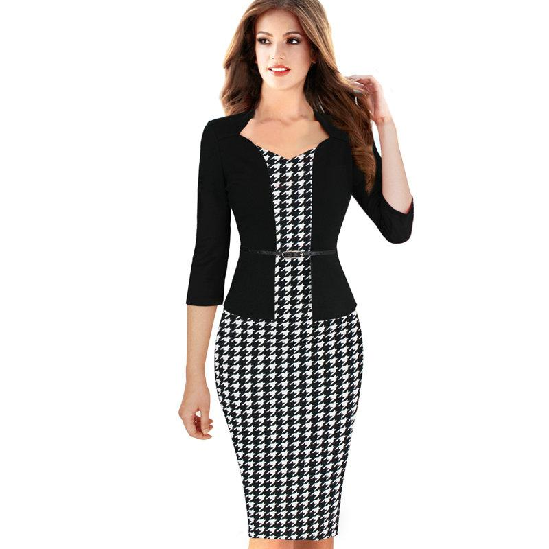 Lcw New Design Women One-piece Faux Jacket Elegant Slim V-neck Contrast Work Office Business 3/4 Sleeve Female Belt Bodycon Dress