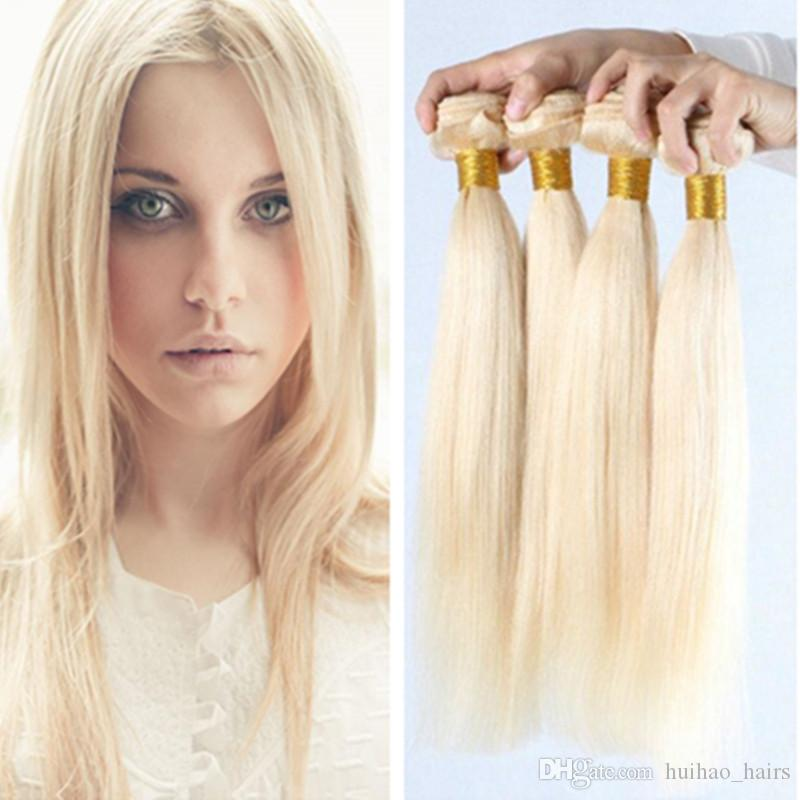 613 Bundles de cheveux blonds platine 4 offres groupées de cheveux vierges droites