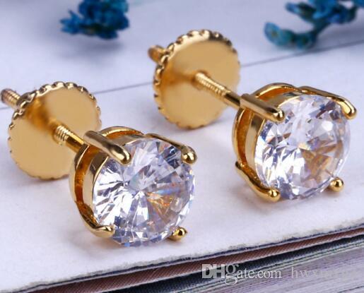 Pendientes con diseño de chaquira y diamantes 1.4 Tornillo redondo con corte redondo F / VS2, oro amarillo de 14 quilates