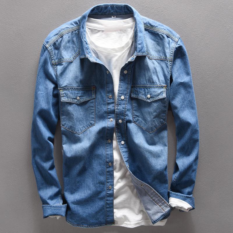 Sonbahar 100% Pamuk Gömlek Erkekler marka kot gömlek erkekler uzun ince Marka giyim giysi denim katı camisa masculina