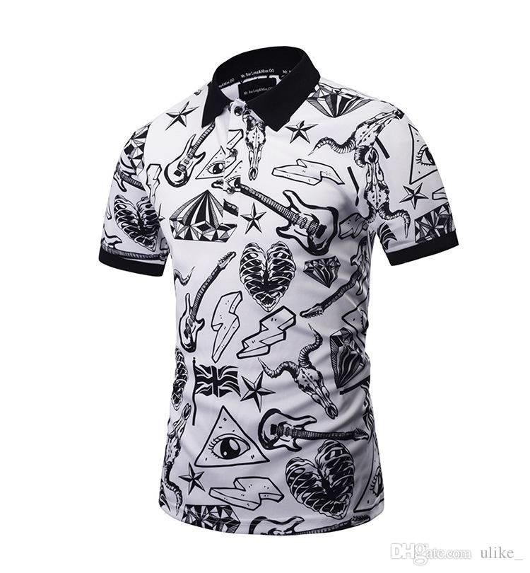 Erkek Baskılı Pamuk Kısa Kollu Camisas Polo Casual Standı Yaka Erkek
