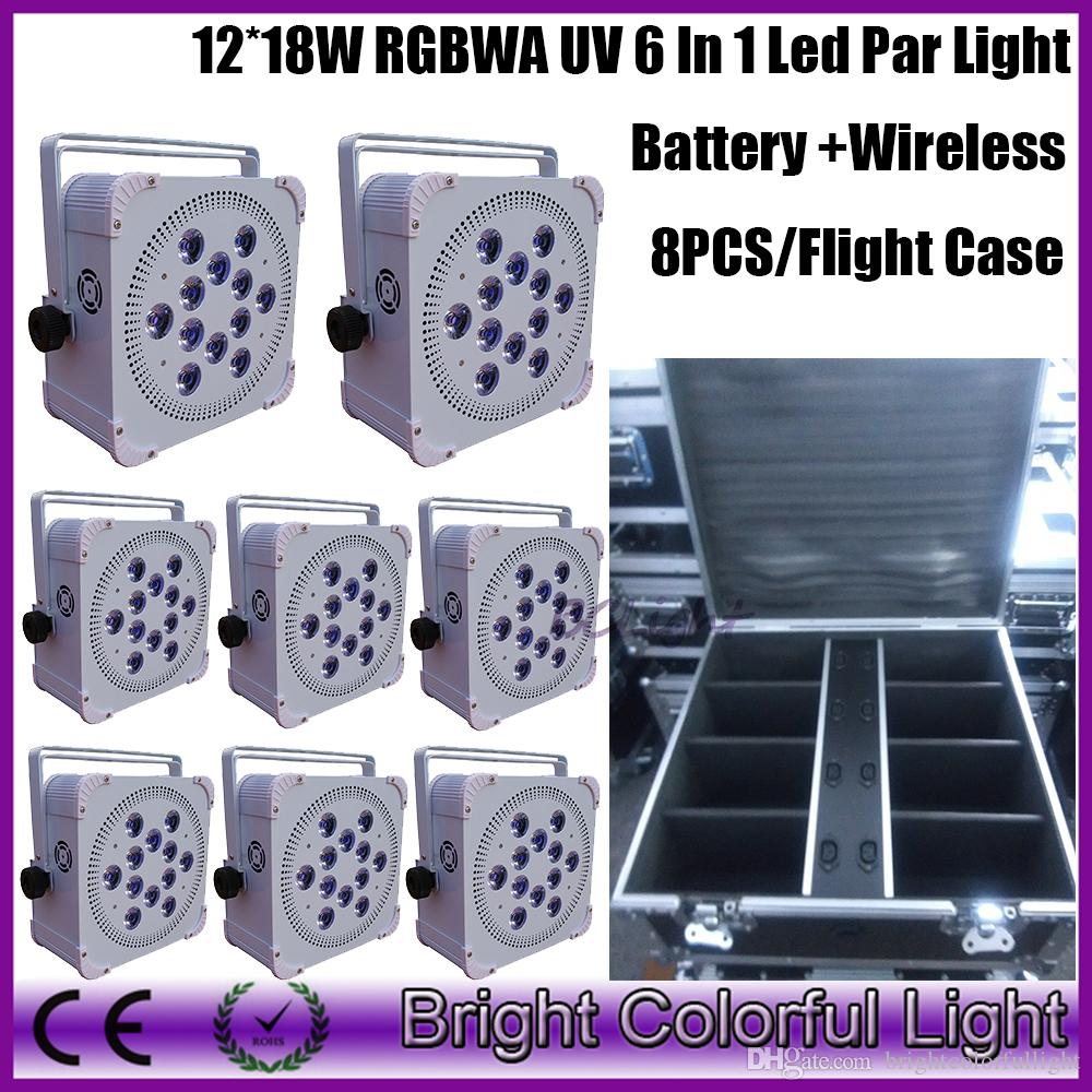8XLOT with flight case LED flat par cans 12 pcs * 18w rgbwa uv 6in1 Wireless dmx uplight Battery Powered led stage wash lights