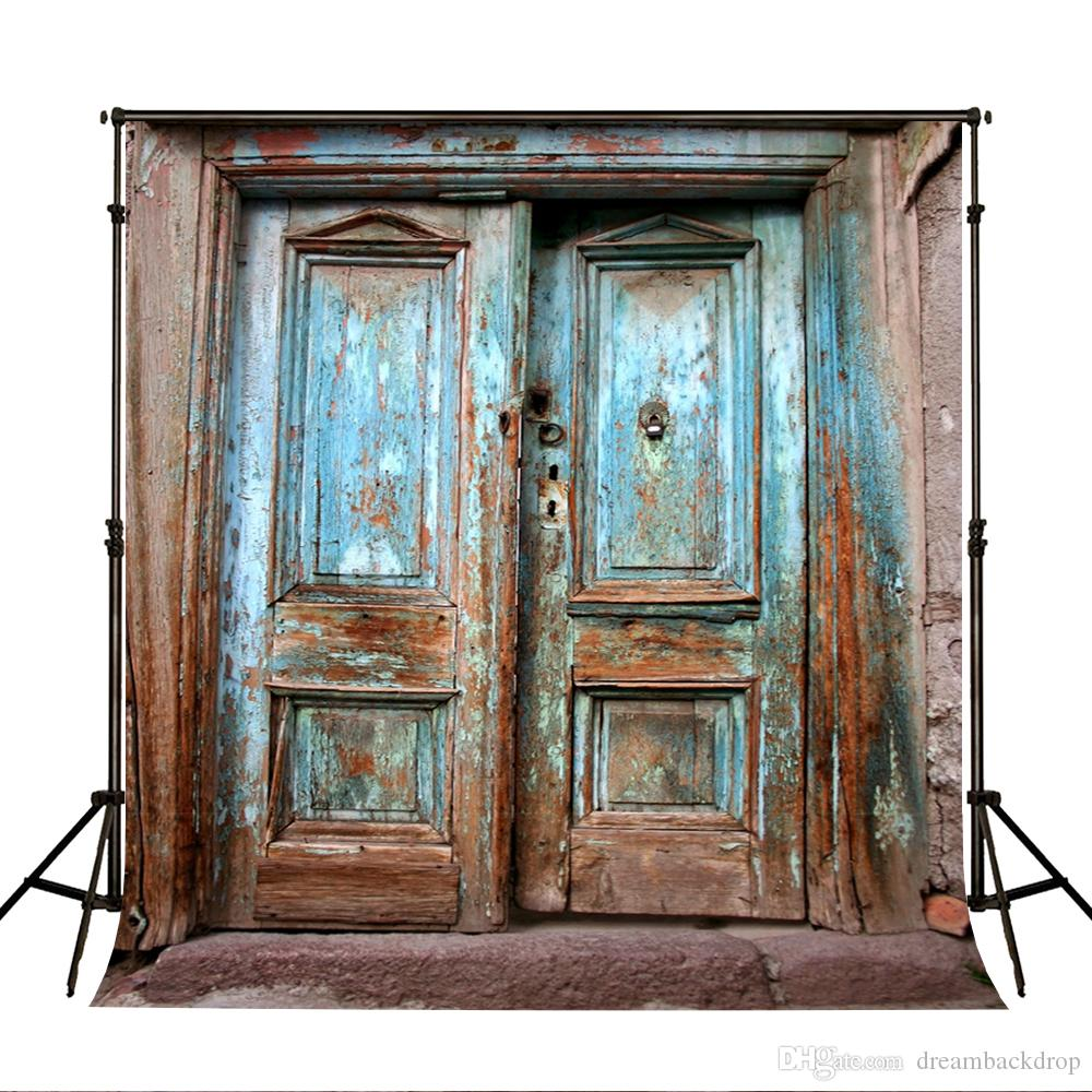 Leowefowa 7x5ft Rustic Weathered Wooden Door Backdrop for Photography Faded Peeled Blue Wood Door Background Children Kids Adult Portrait Shoot Studio Photo Booth Props