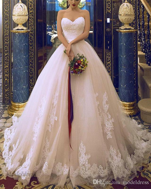 فساتين زفاف رومانسية ألف خط حمالة الرباط يزين الحبيب البهية تول جودة عالية مخصص أثواب الزفاف الصين اليدوية