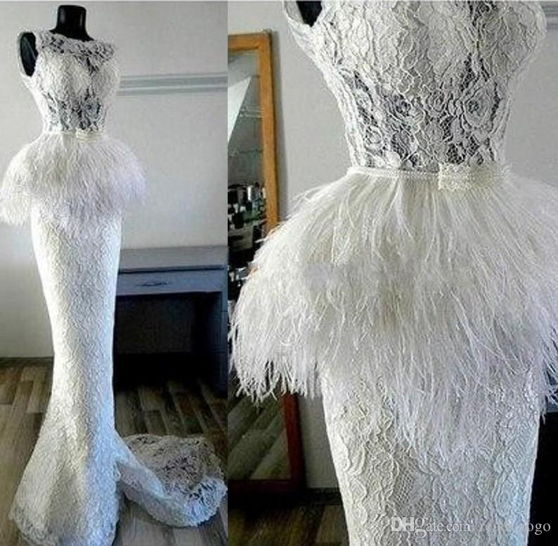 White Mermaid Lace Wedding Dresses with Feather Peplum Gorgeous Custom Made Full Length Wedding Gowns Beading Belt Cheap Bridal Dresses