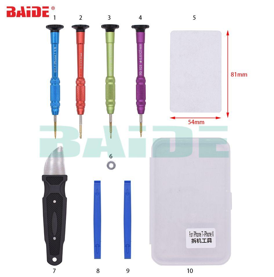 Con la caja de plástico 10 en 1 Juego de herramientas de reparación Herramienta de apertura de palanca para iPhone 5S iPhone 7 iPhone X 20set
