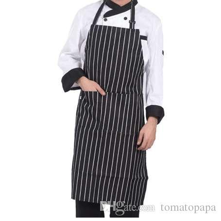 Despojado Chef Aventais com 2 Bolsos Sem Mangas Adulto Homens Mulheres Avental Cozinha Cozinhar Ferramentas Xadrez Poliéster Bibs