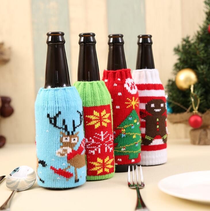 Weihnachtshaushaltsgegenstände hochwertige Strickbierflasche umfasst Dekoration