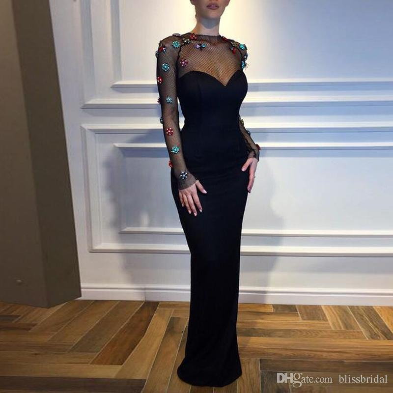 Elegant and Sexy Black Column Evening Dress Sweetheart Sheer Neck Long Sleeve Prom Gown Colorful Handmade Flowers Zipper Back Formal Wear