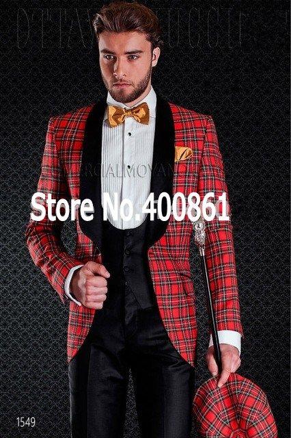 New Design Flower square lattice Shawl Lapel Wedding Men Suits Groom Tuxedos Men Party Groomsmen Suits (Jacket+Pants+Tie+Vest) NO:126