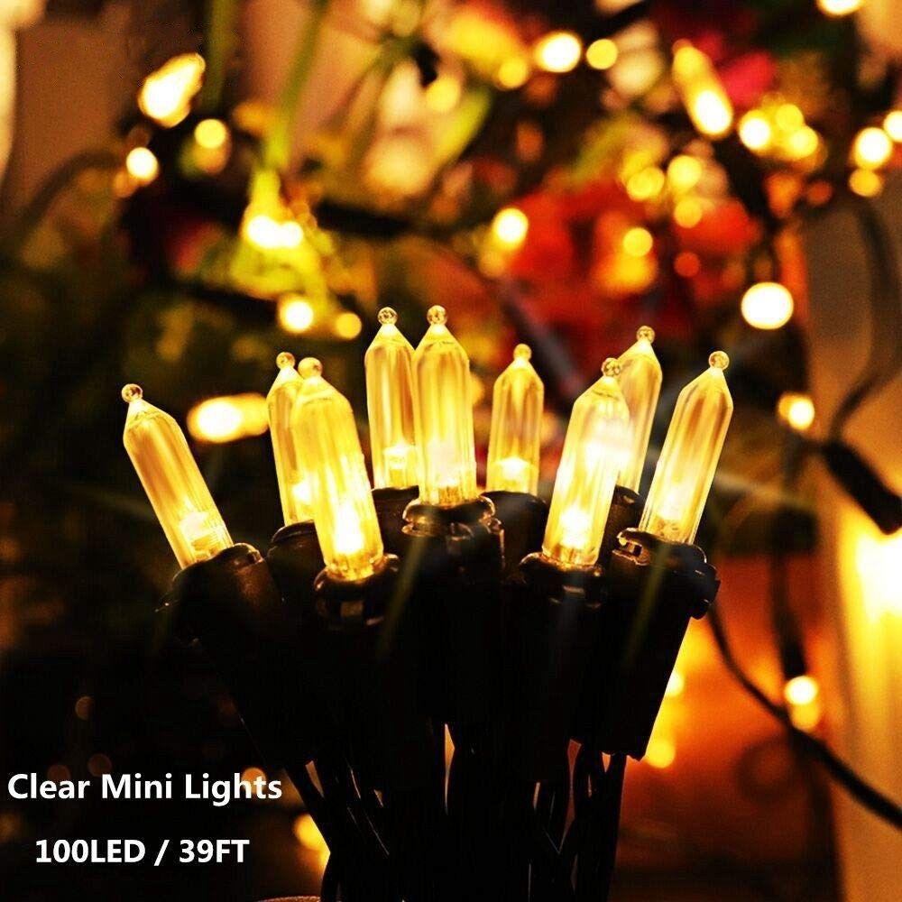 Guirlandes solaire 100 LED 39ft Noël vert clair Wire Light Set Garden Patio de mariage Décorations de Noël de vacances