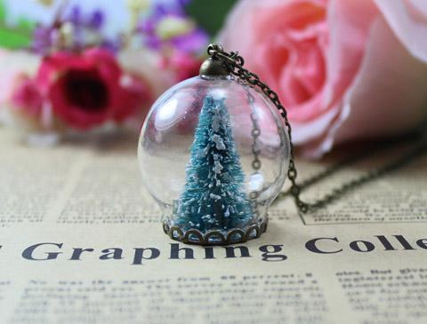 3PCS 30MM Weihnachtsbaum Snow Globe Halskette, Flasche Anhänger, handgemachte Flasche Halskette