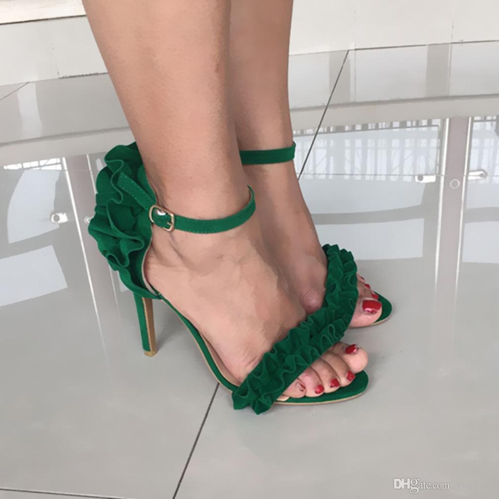 Zandina Womens Sandálias de Salto Alto Sexy Simples Escola Partido Prom Shoes Buckle Strap Moda Sapatos A110