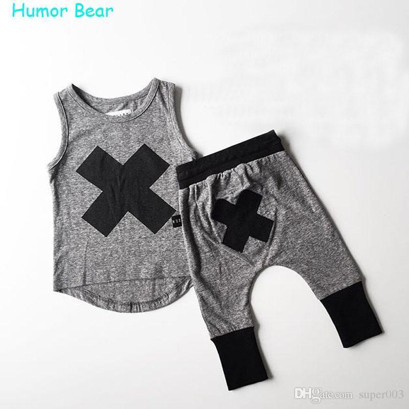 Mizah Ayı 2018 bebek Erkek kız elbise Gündelik Giyim Setleri Çocuk takım elbise kolsuz Bluz + Haroun pantolon Yaz çocuklar set