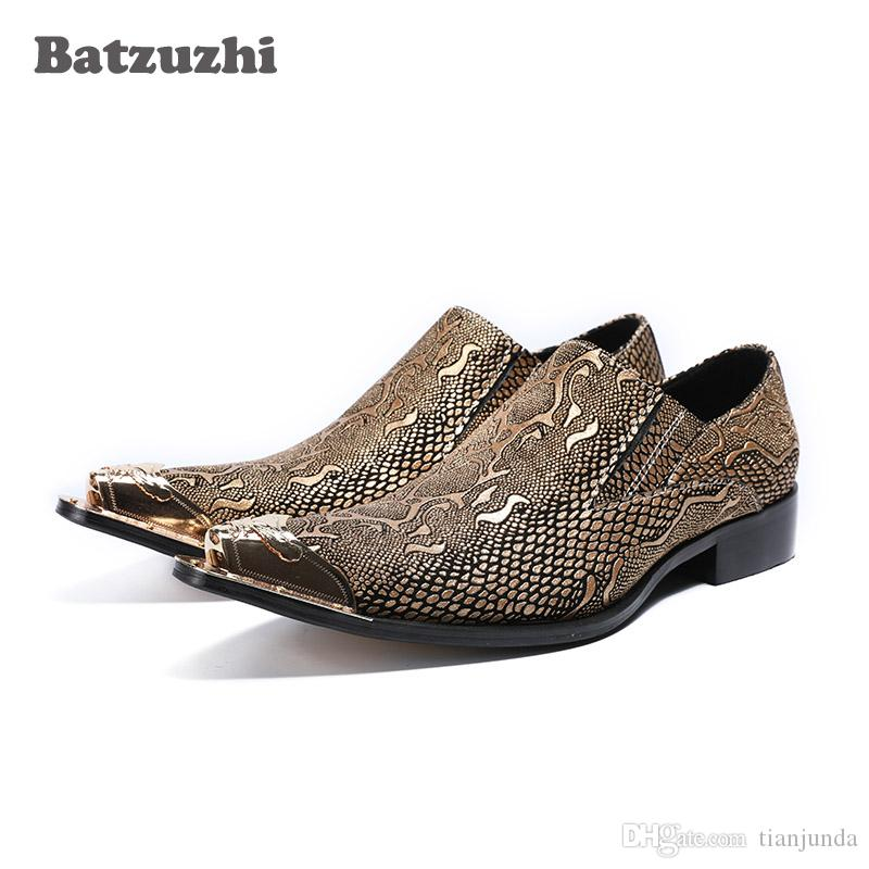 2019 Nuovi zapatos de hombre Scarpe uomo in pelle slip on uomini d'affari scarpe a punta marchio di nozze e partito degli uomini scarpe da sera punta in metallo US12