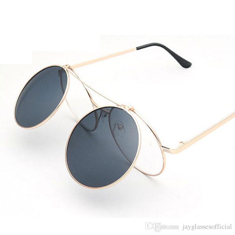 Урожай Мужчины Женщины грейферные солнечные очки Круглый металлический каркас очки стимпанк Раскладушка lentes Флип Up Clear Lens Пун Солнцезащитные очки