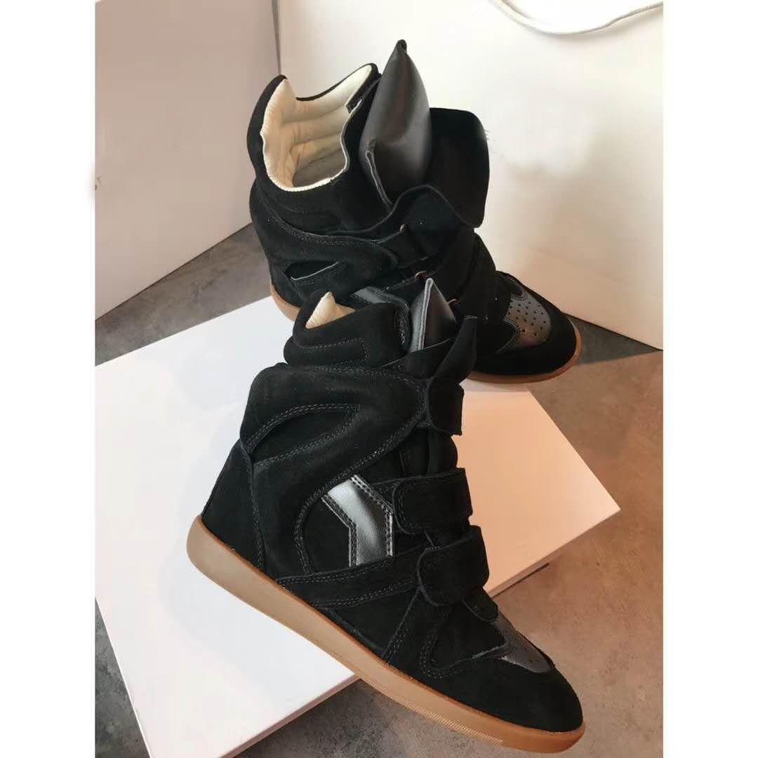 Frauen Paris Schwarz Bekett Wedge Sneakers Isabel Bekett Leder bezogenes Suede Wedge Sneaker Echtes Leder und Wildleder Marant Schuhe