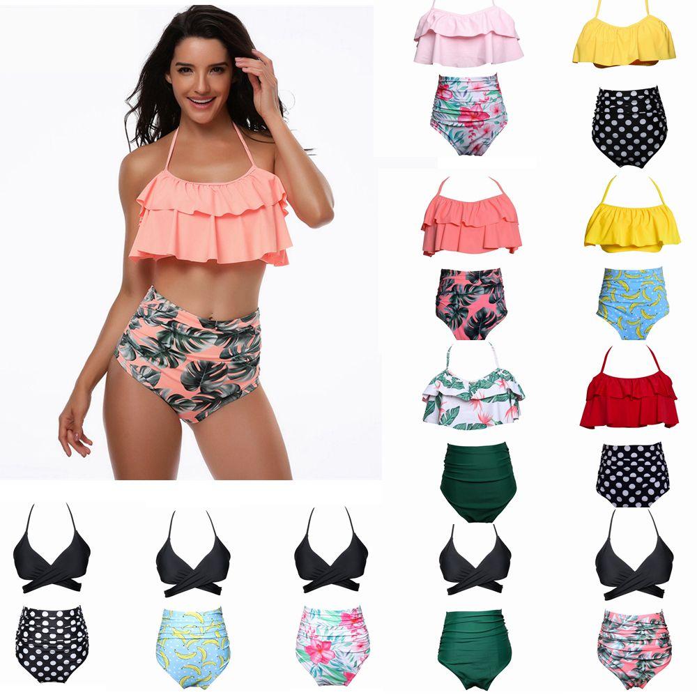 9styles Mulheres cintura Polka Dot Bikini Sexy Imprimir Swimwear Verão Beachwear Lotus Folha Floral Set Bra Swimsuit de banho LJJA357 Suit