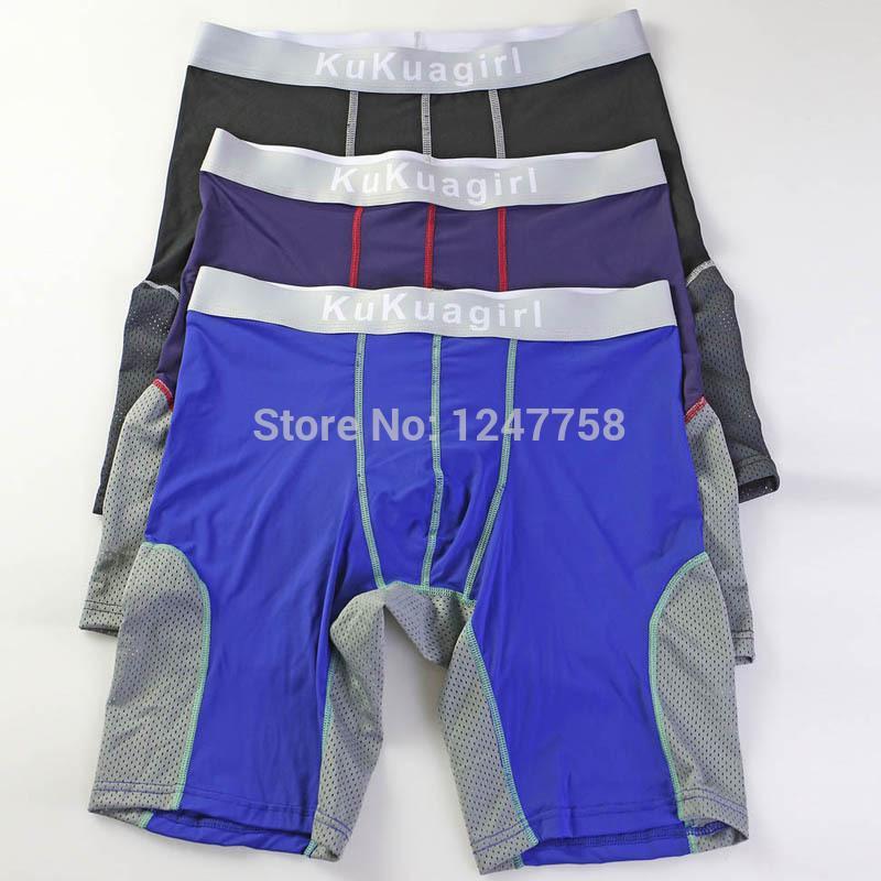 Herren Sporthosen lange Unterwäsche Shorts Body Sculpting Boxer